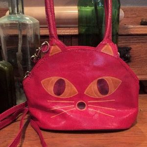 Vintage red leather kitty clutch